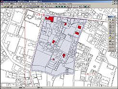 任意選択範囲(青いハッチのエリア)内の木造建築物の検索色塗り図例